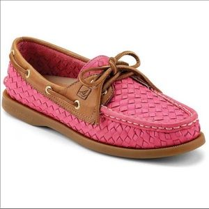 Sperry Pink Wovem Boat Shoes